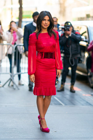 Priyanka Chopra neon pink dress