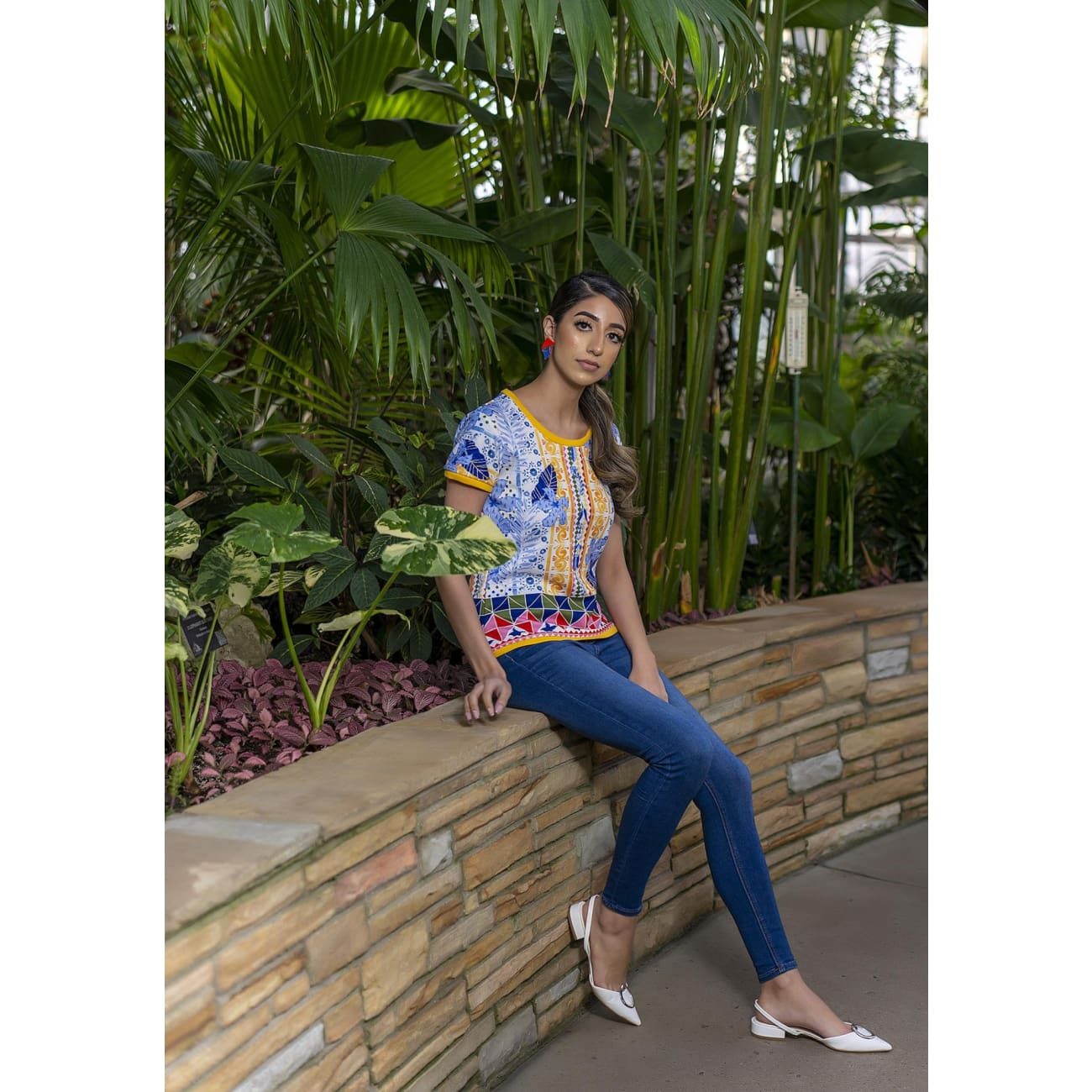 Blue Casual Resort Wear Floral print top USA