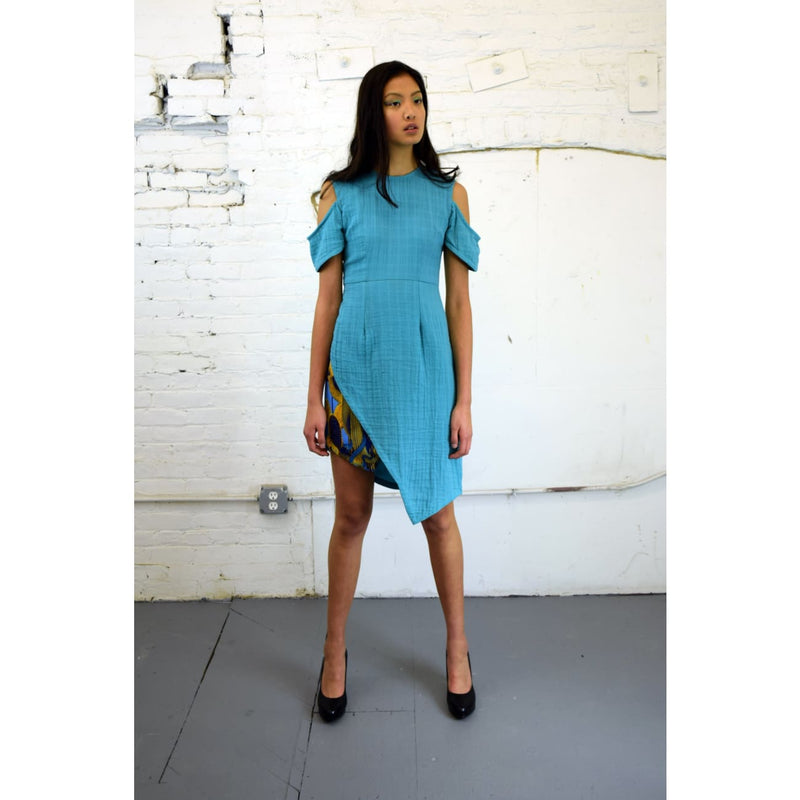 Blue cotton off shoulder cruise dress Designer usa