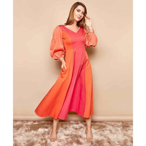 Color Block Womans Midi Dress with Long Sleeves