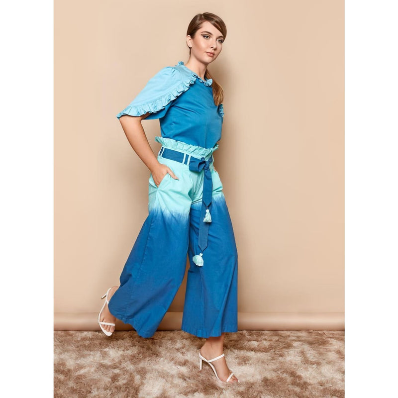 Blue Ombre Palazzo Trousers