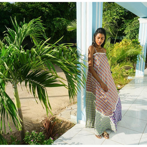 maxi cotton dress madras checks for summer