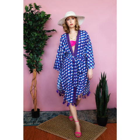 Kimono bohemian dress for vacation usa resort wear