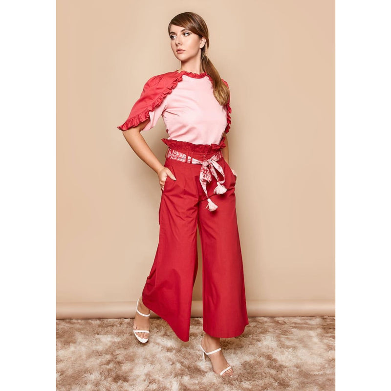 Deco Red Palazzo Trousers