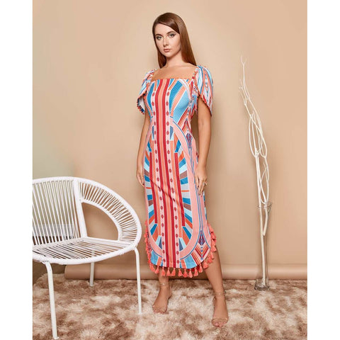 Maxi Printed dress for women with statement sleeves