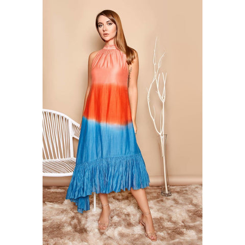 California silk dress with ruffles without sleeves for women resort wear