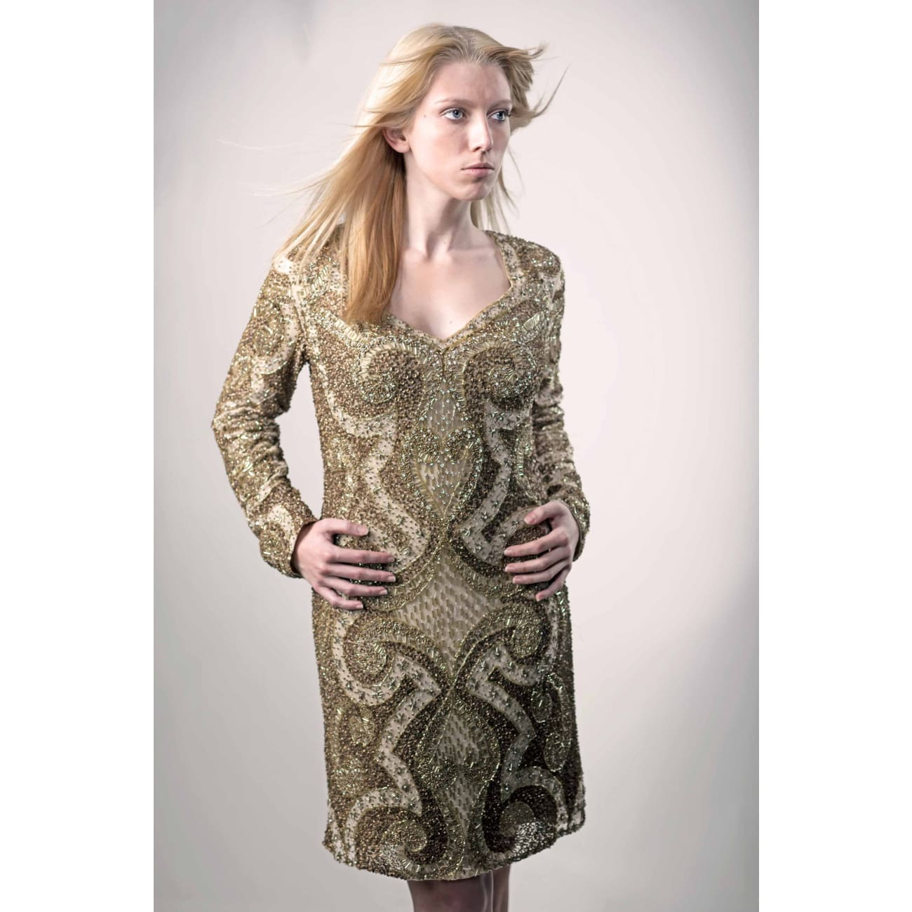 Gold Cocktail Dress- Only 2 Left!!! Dresses Sandhya Garg Free Shipping Custom Made United States bridal party dress Designer dress evening