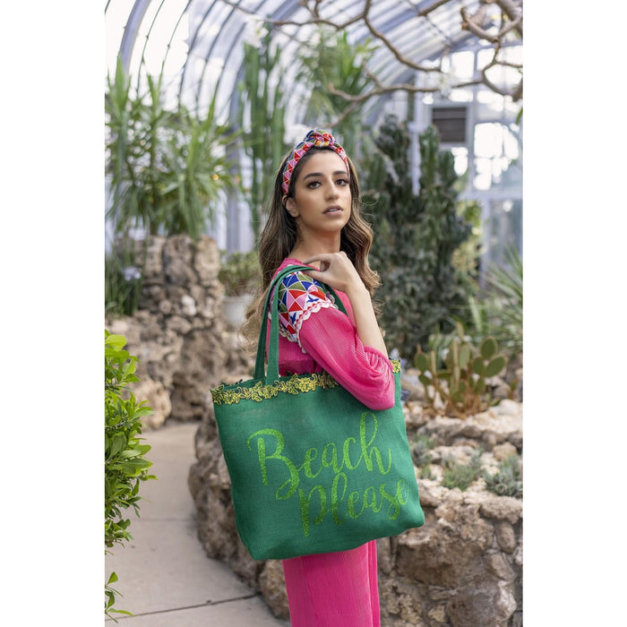Green Tote Bag for women vacation Resort wear
