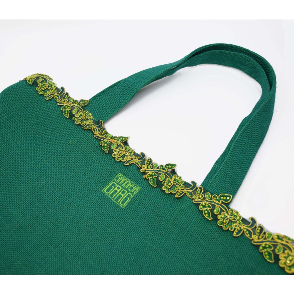 Hara Green Tote Bag Jewelry and Accessories Sandhya Garg Free Shipping Bohemian Boho Chic Designer dress Dress for vacation Resort wear