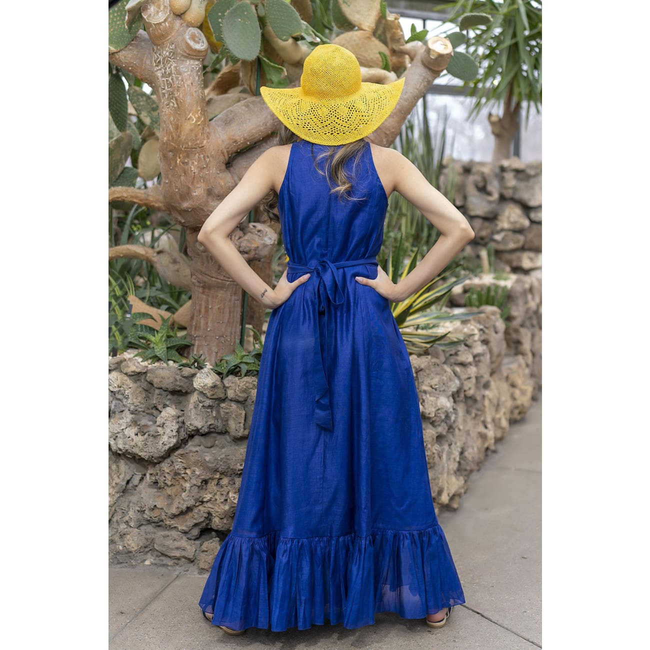 Isa Silk Blue Maxi Dress Dresses Sandhya Garg Free Shipping beach dress Bohemian Bohemian Dress Boho Chic cruise dress