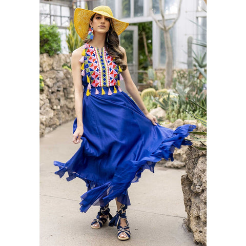 blue silk maxi dress, summer wedding guest dress for women, USA shop online
