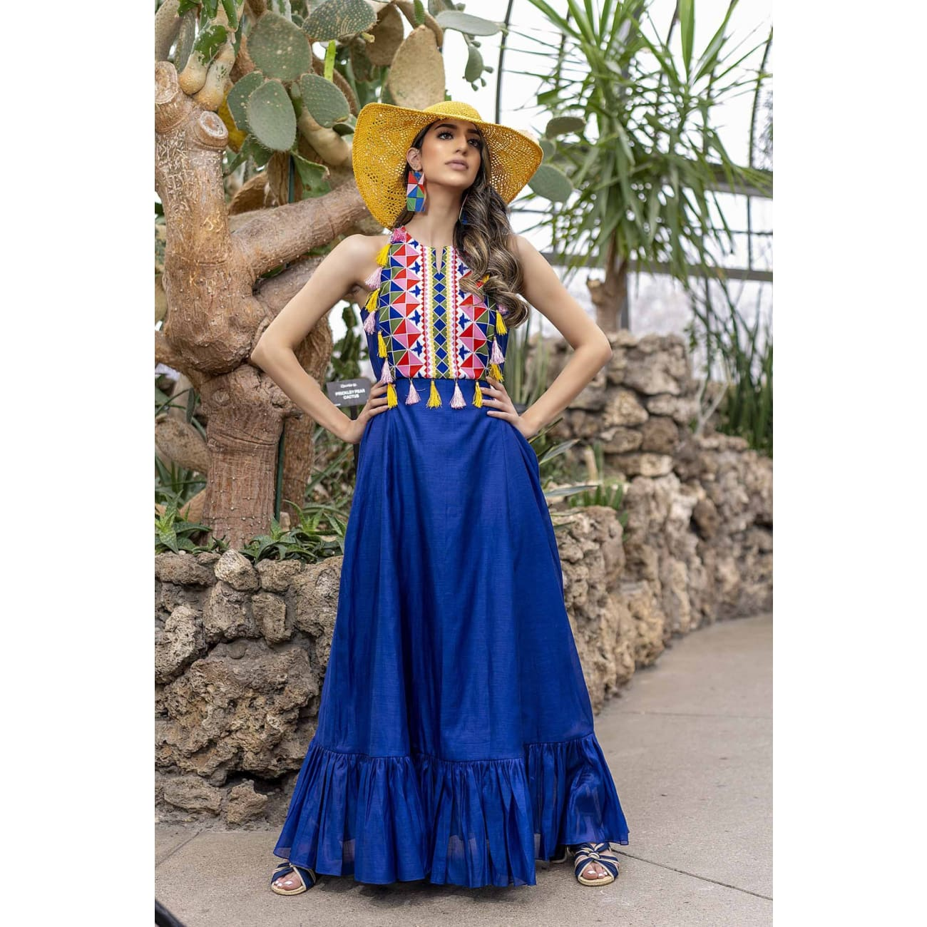 Isa Silk Blue Maxi wedding guest Dresses
