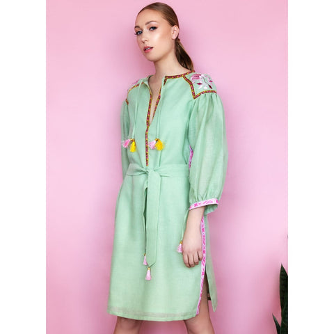 Pastel green Linen dress with coastal vibe for women