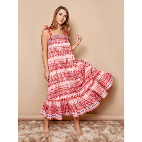 Midi Printed dress for women in California vibe resort style