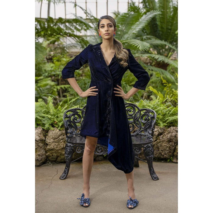 Margarita Blue Velvet Jacket Dress Dresses Sandhya Garg Free Shipping bridal party dress Designer dress Dress for vacation Dress for wedding