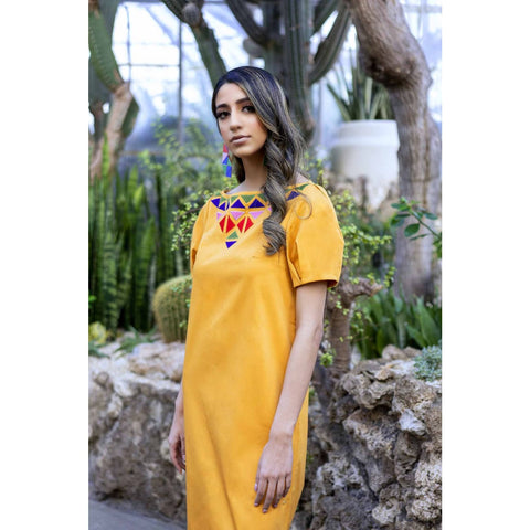 yellow midi dress with short sleeves for women