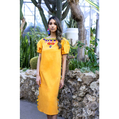 Yellow midi dress with puff sleeves for women