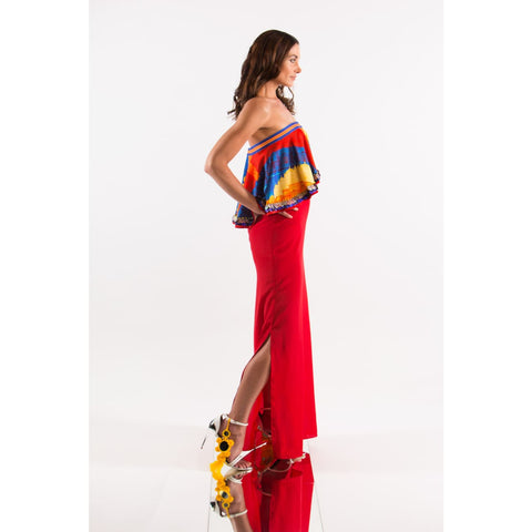 Red off shoulder maxi dress bohemian designer fashion usa project runway