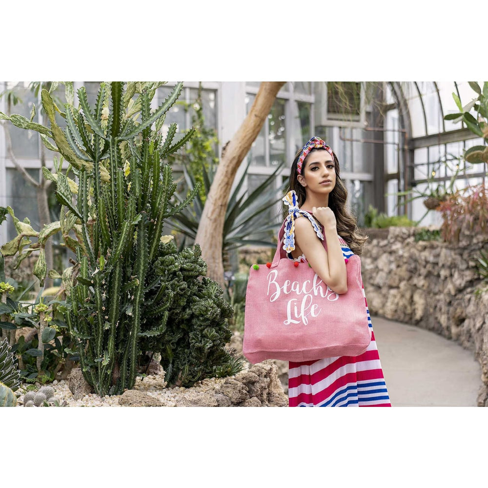 Pink Vacation Tote Bag Jewelry and Accessories Sandhya Garg Free Shipping Designer dress Dress for vacation Gift gifts Resort wear