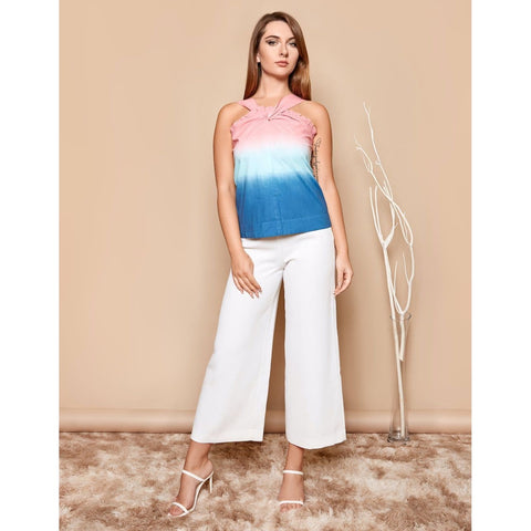 blue pink ombre top for women