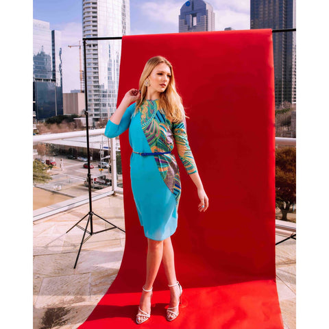 Turquoise blue dress with sleeves for women, summer wedding guest dress for women, USA shop online