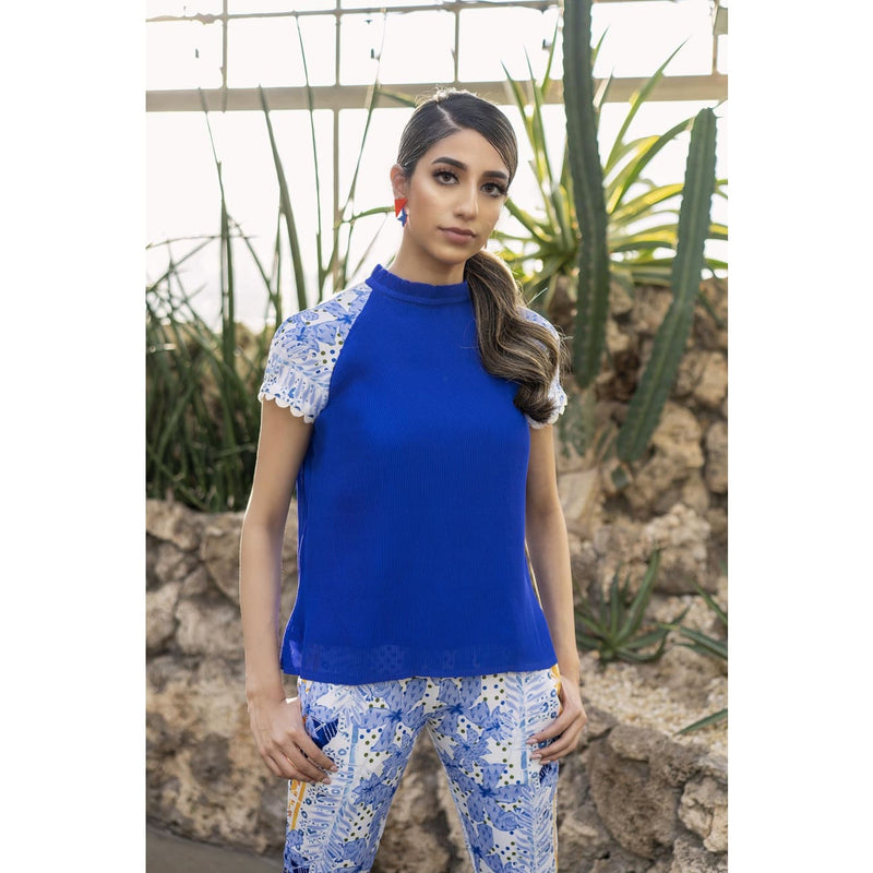 Ulla Blue Top Tops and Blouses Sandhya Garg Free Shipping Designer dress Dress for vacation Resort wear vacation dress Vacation wear