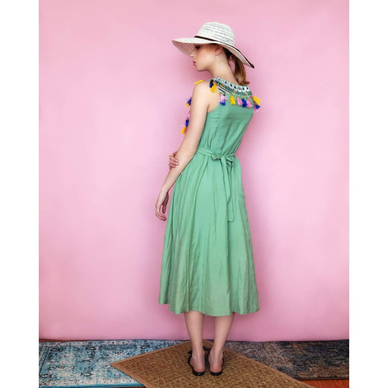 Green Vacation long silk Dress for women usa