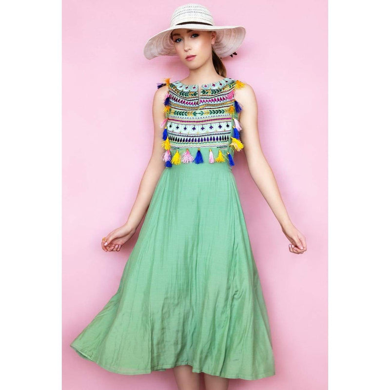Green maxi dress for women