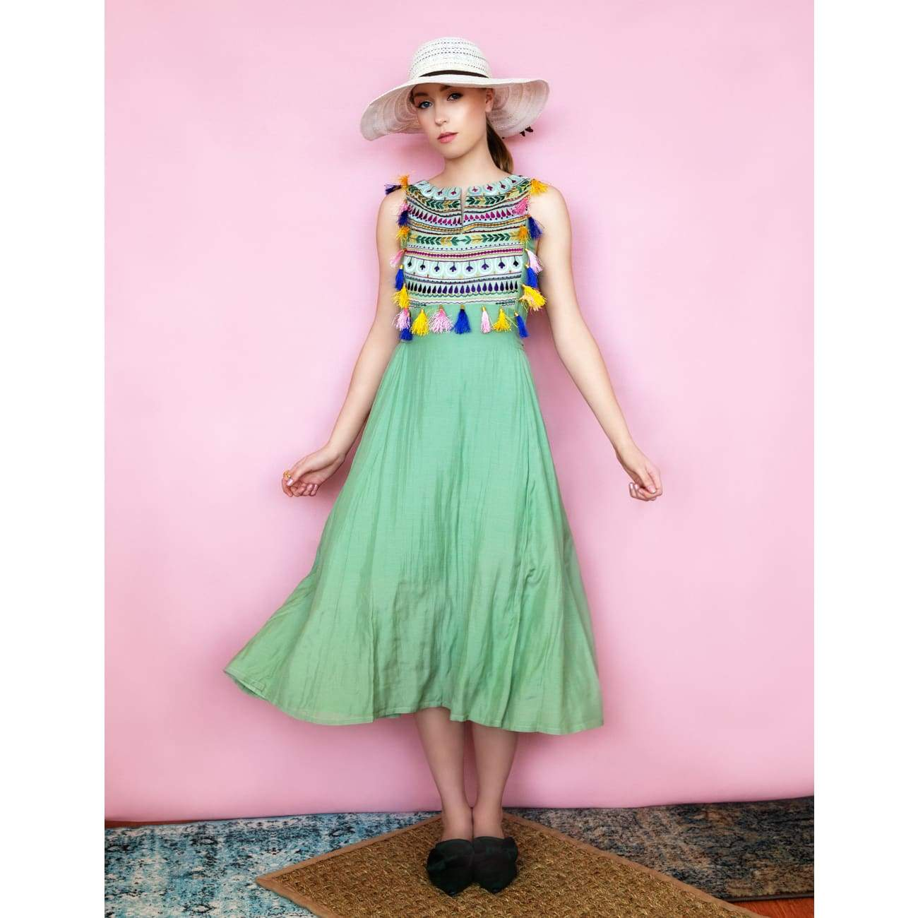 Green Maxi Dress bohemian for women USA