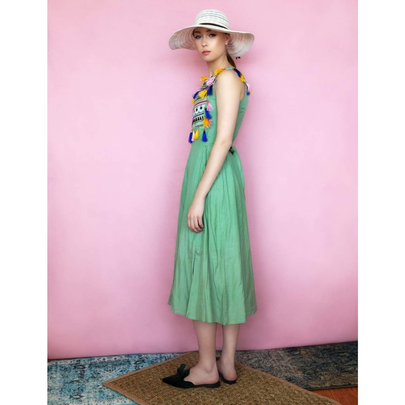 Green Bohemian Dress for women usa
