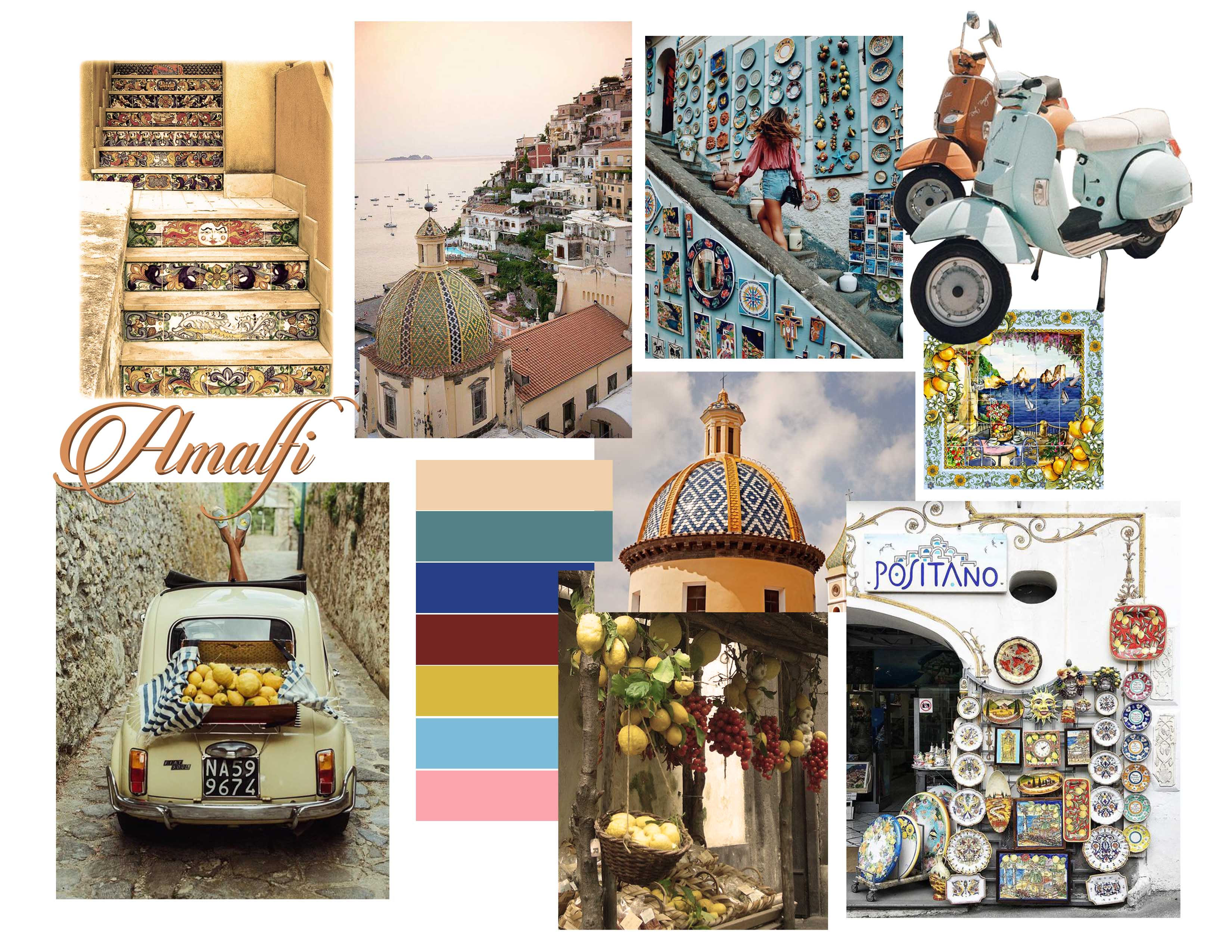 Amalfi coast travel plan: Take a blue vespa through the snaking lanes of Amalfi.