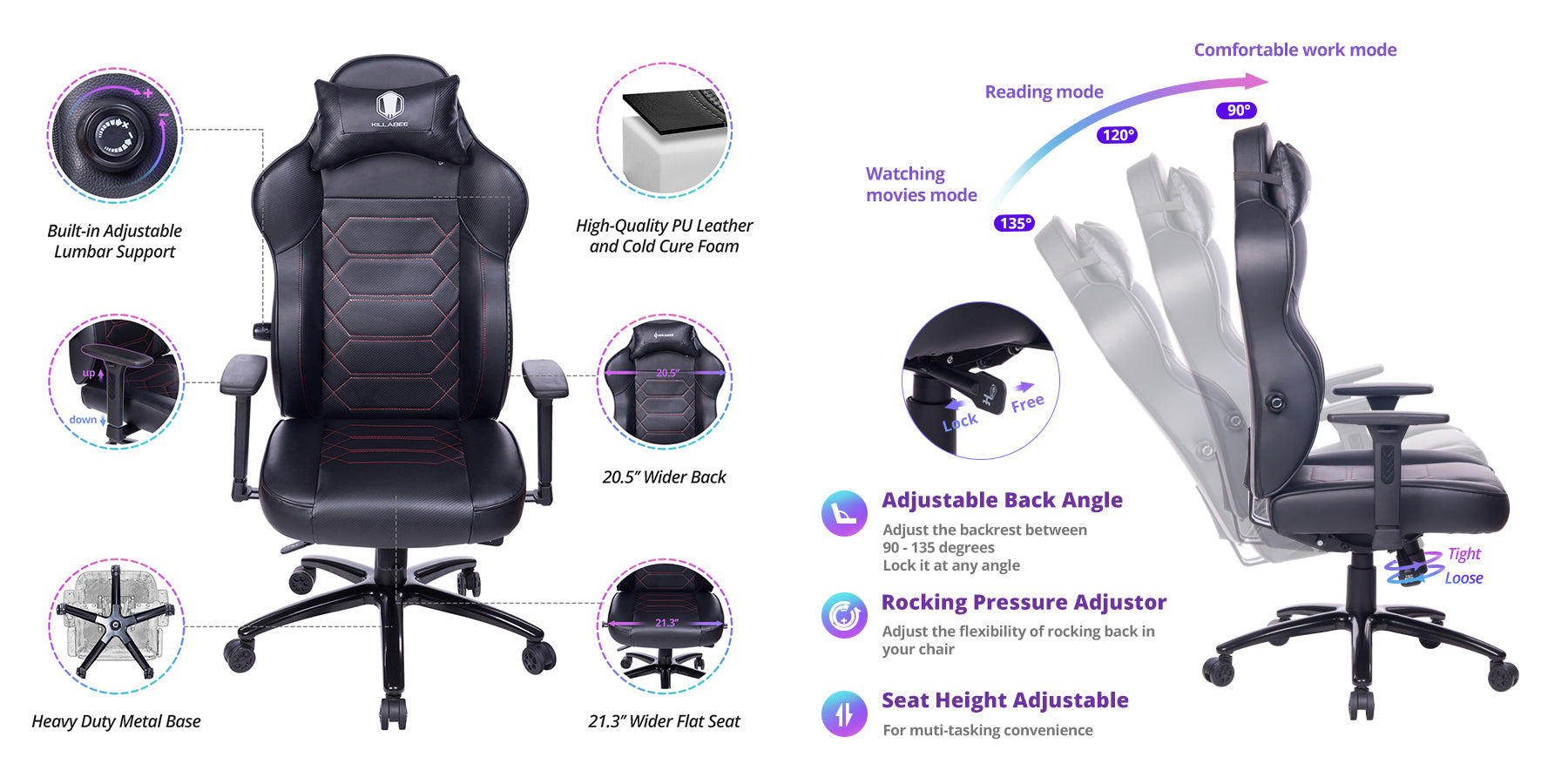killabee 8272 gaming chair adjustability