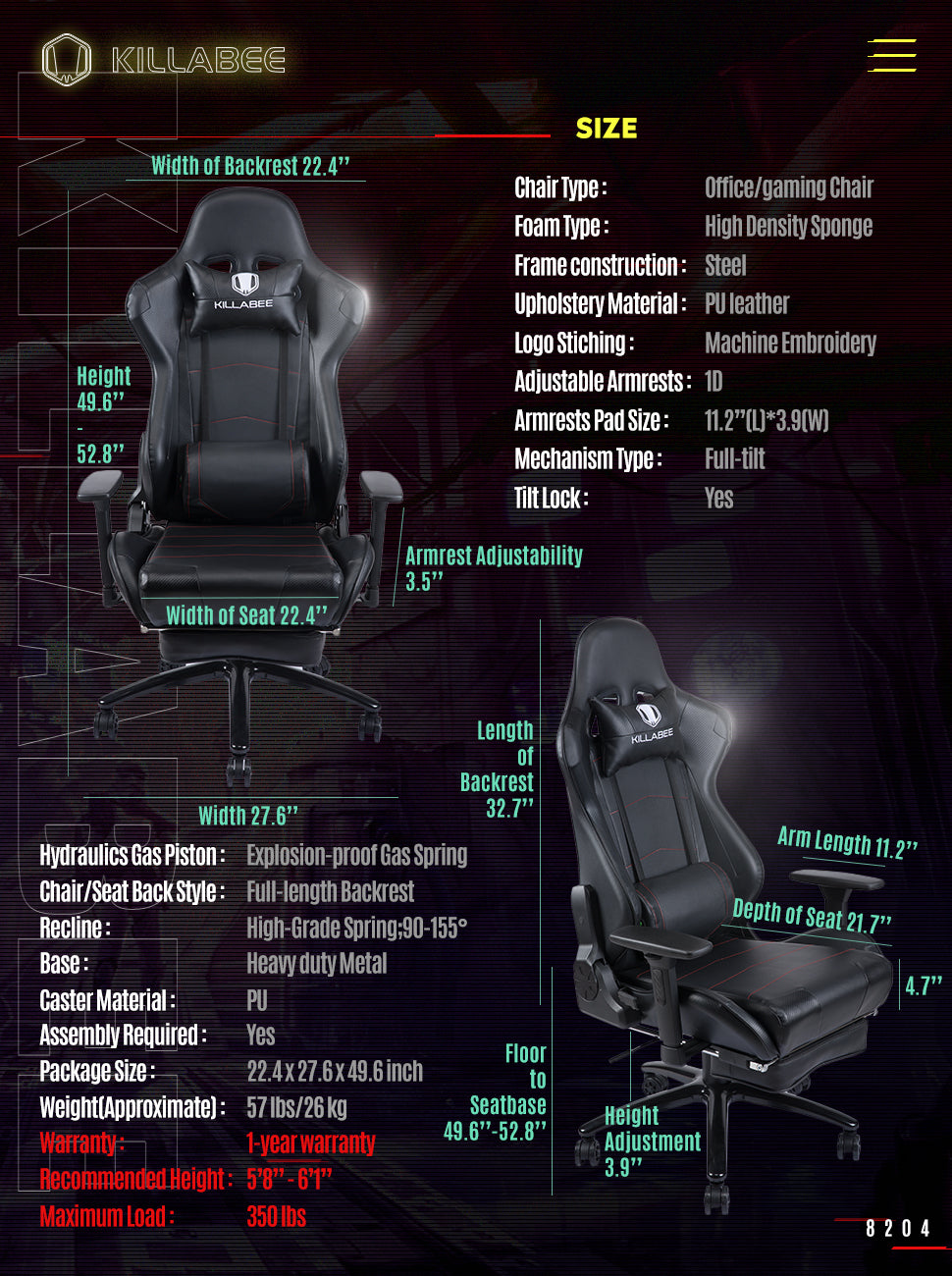 killabee ergonomic gaming chair 8204 black measurement