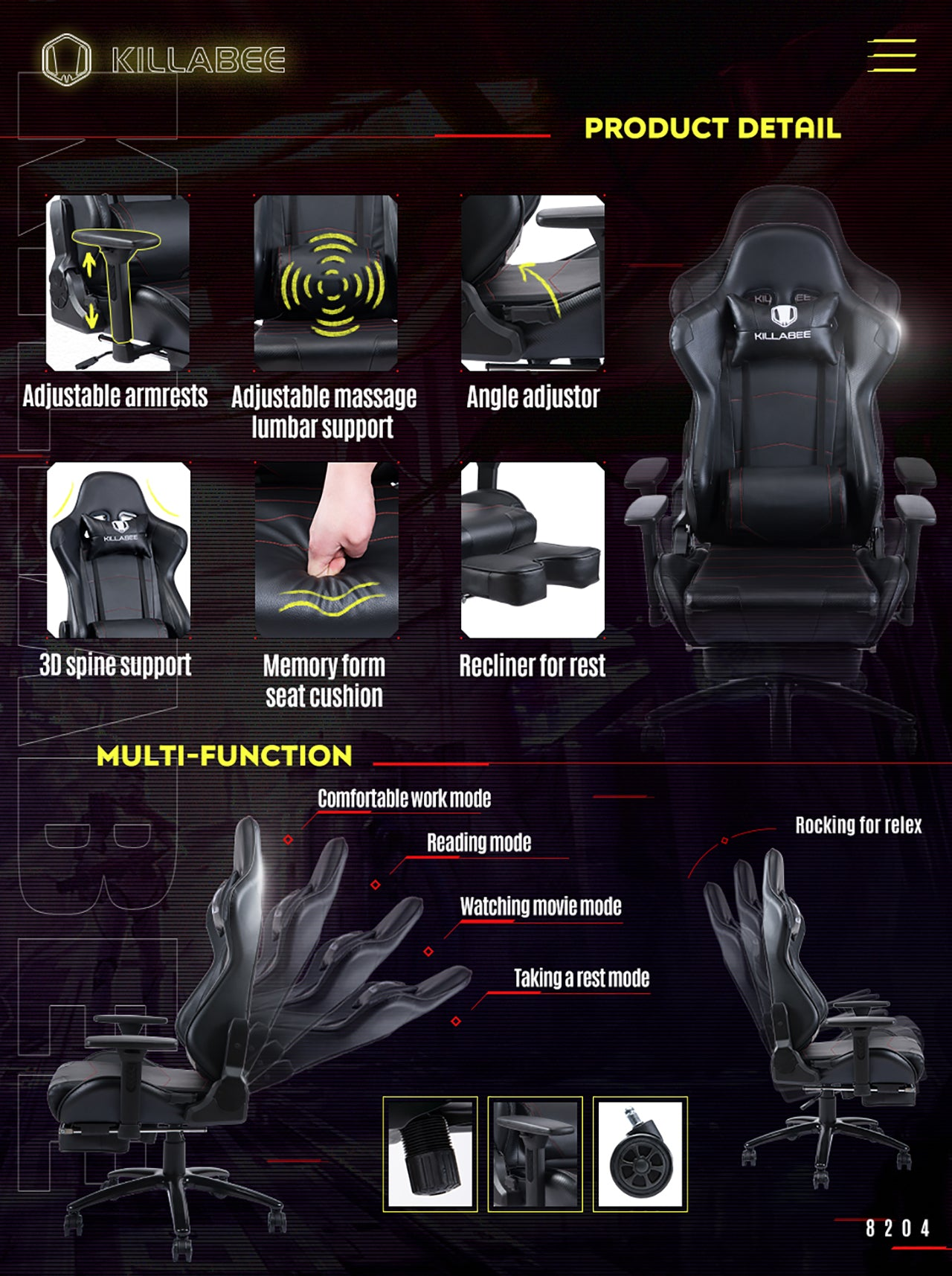 Killabee racing gaming chair 8204 black features