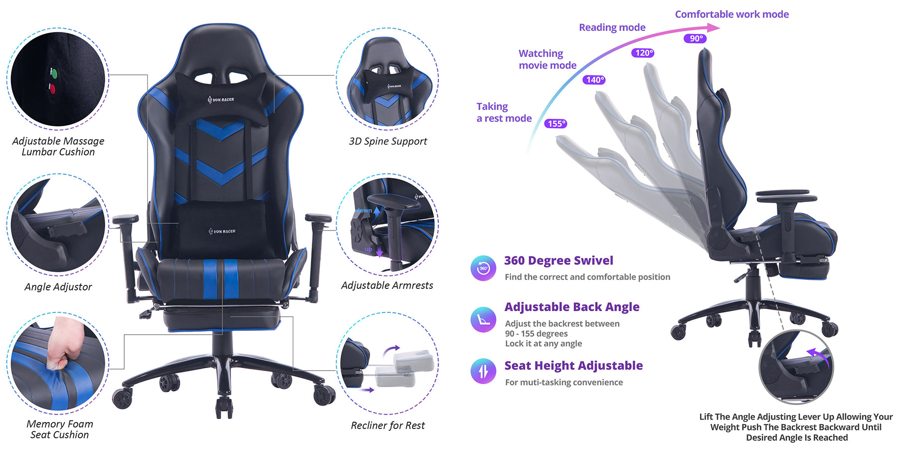 killabee massage gaming chair 8193 blue feature