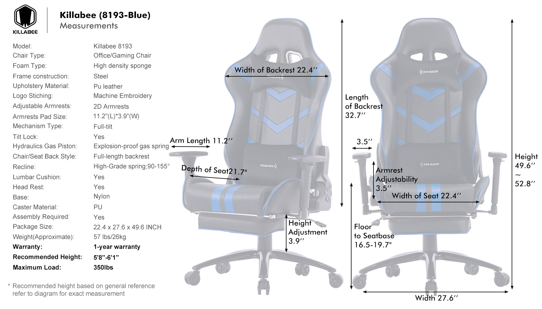 killabee massage gaming chair 8193 blue size