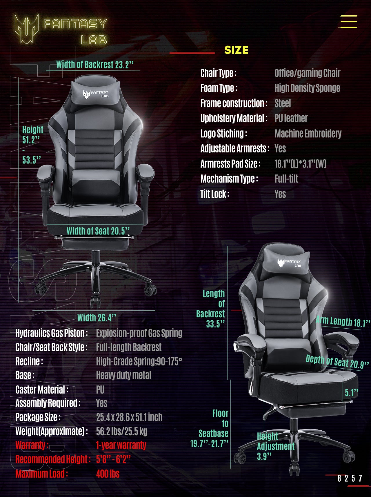 FANTASYLAB 8257S SERIES BIG AND TALL GRAY GAMING OFFICE CHAIR SPECIFICATION