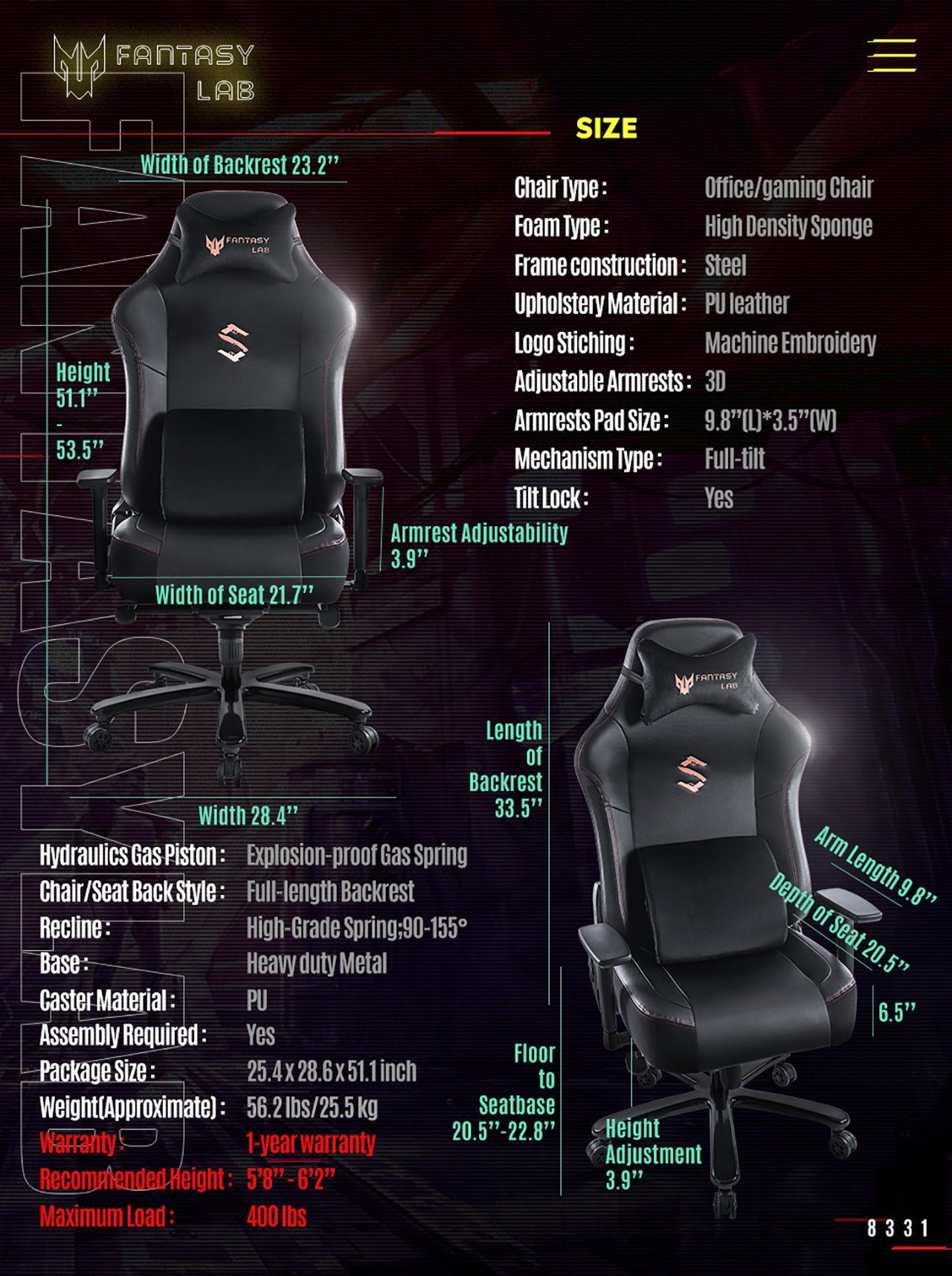 FANTASYLAB BIG AND TALL GAMING CHAIR 8331 BLACK SPECIFICATION