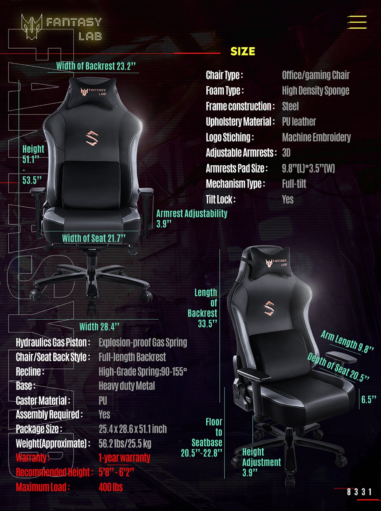FANTASYLAB BIG AND TALL GAMING CHAIR 8331 GRAY SPECIFICATION