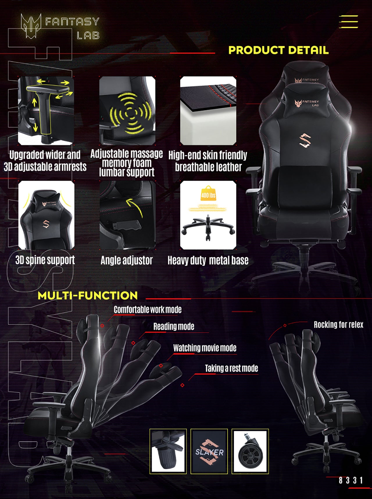 FANTASYLAB BLACK GAMING CHAIR WITH MASSAGE LUMBAR SUPPORT 8331 SERIES MULTIFUNCTIONAL COMPUTER GAMING CHAIR