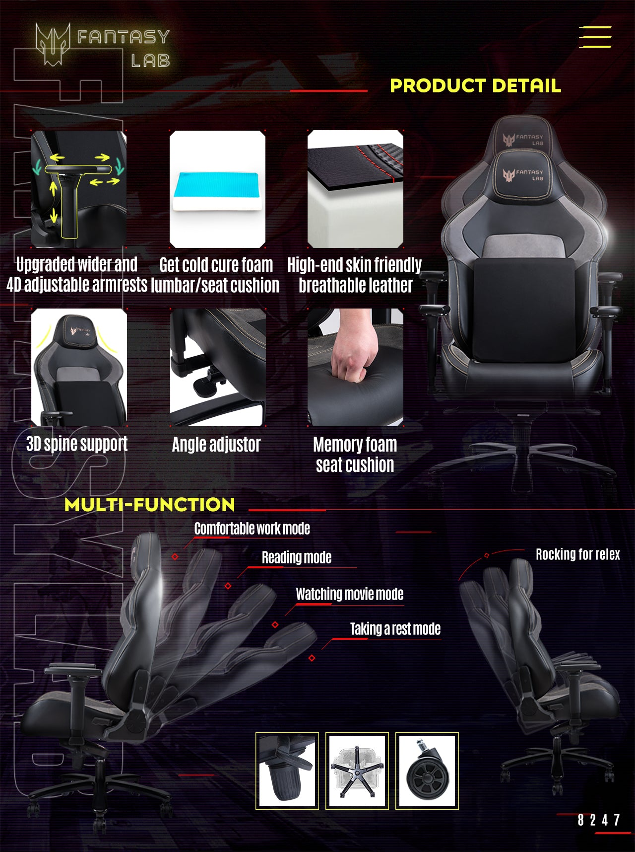 FANTASYLAB Big and Tall Gaming Chair 8247 FEATURES