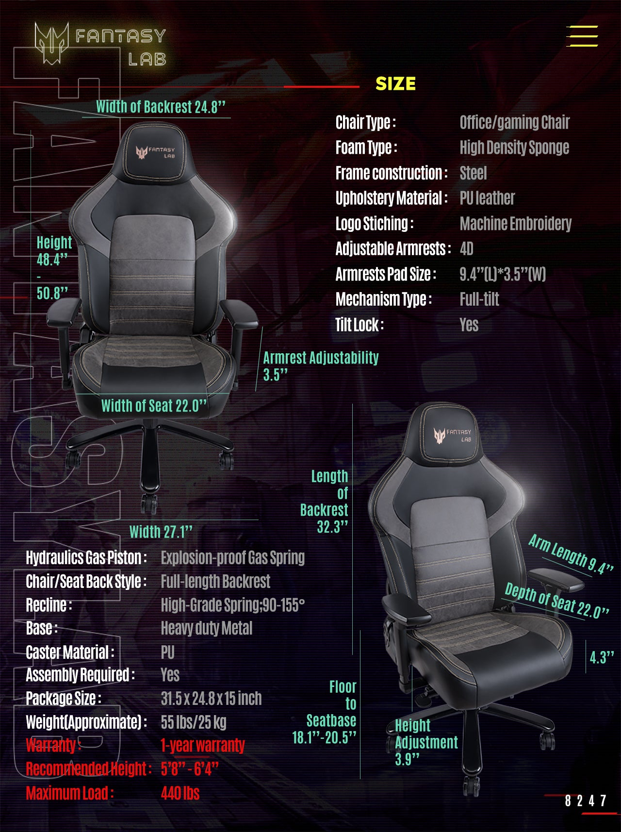 FANTASYLAB Big and Tall Gaming Chair 8247 SPECIFICATION