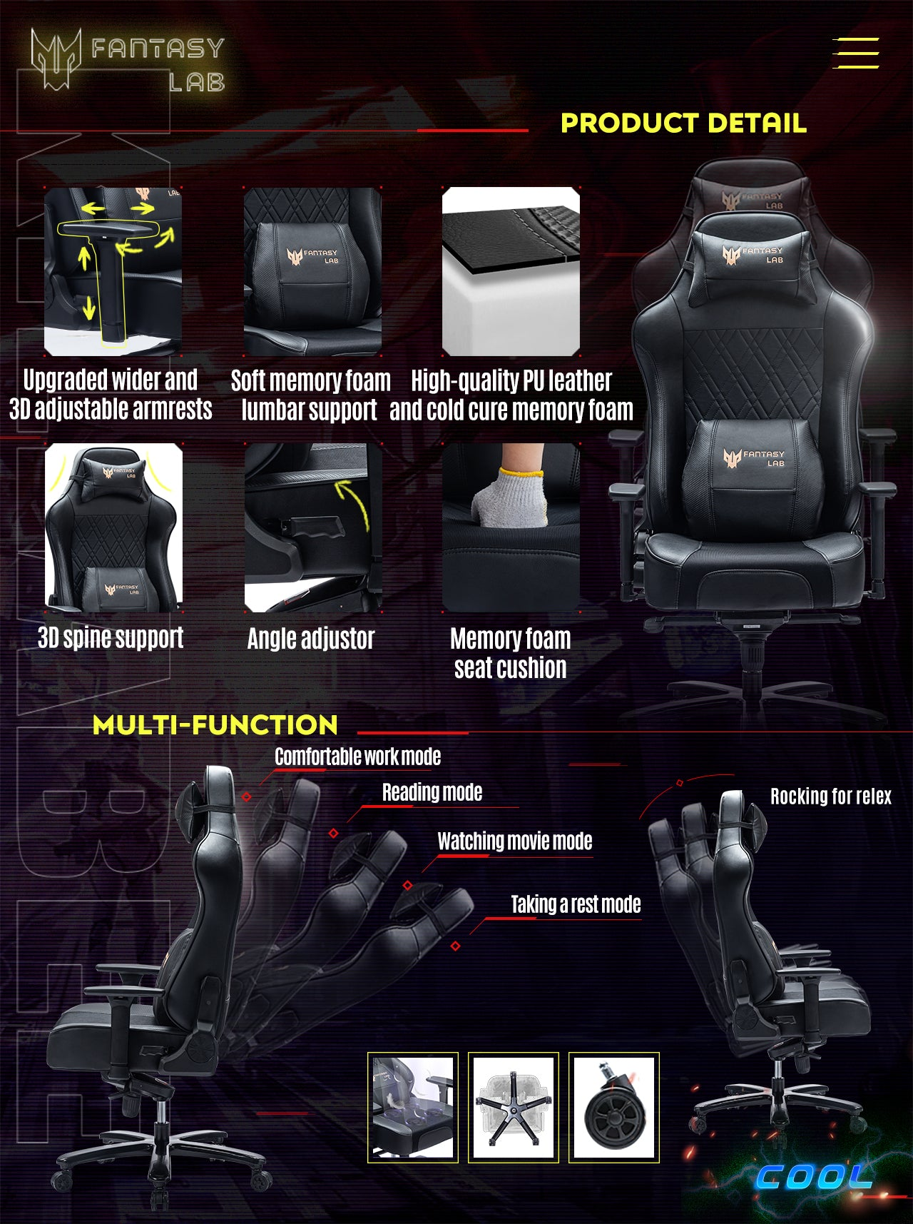 FANTASYLAB Cool Series Racing Style Big and Tall Black Gaming Chair Features