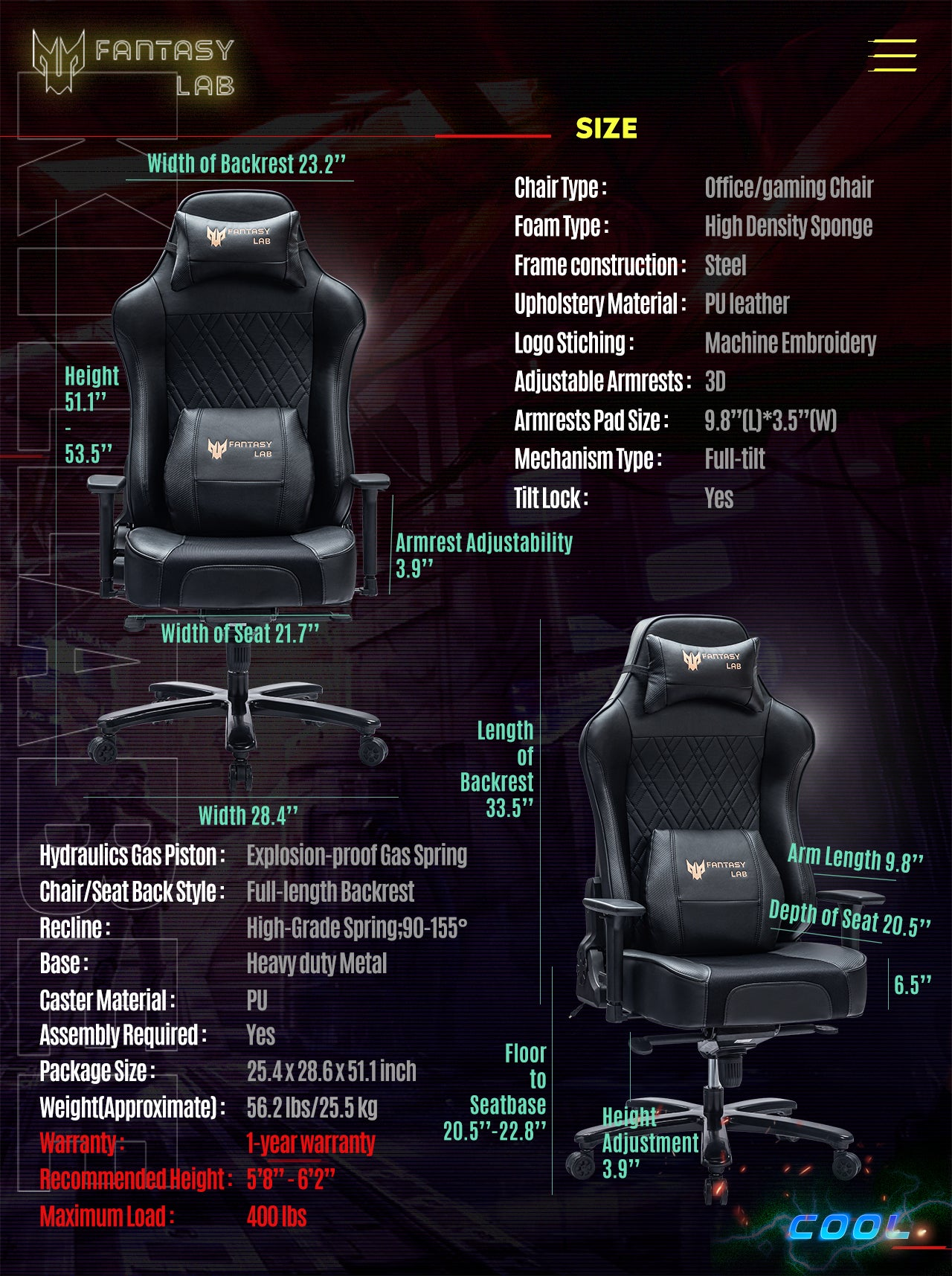 FANTASYLAB Cool Series Racing Style Big and Tall Black Gaming Chair Specifications