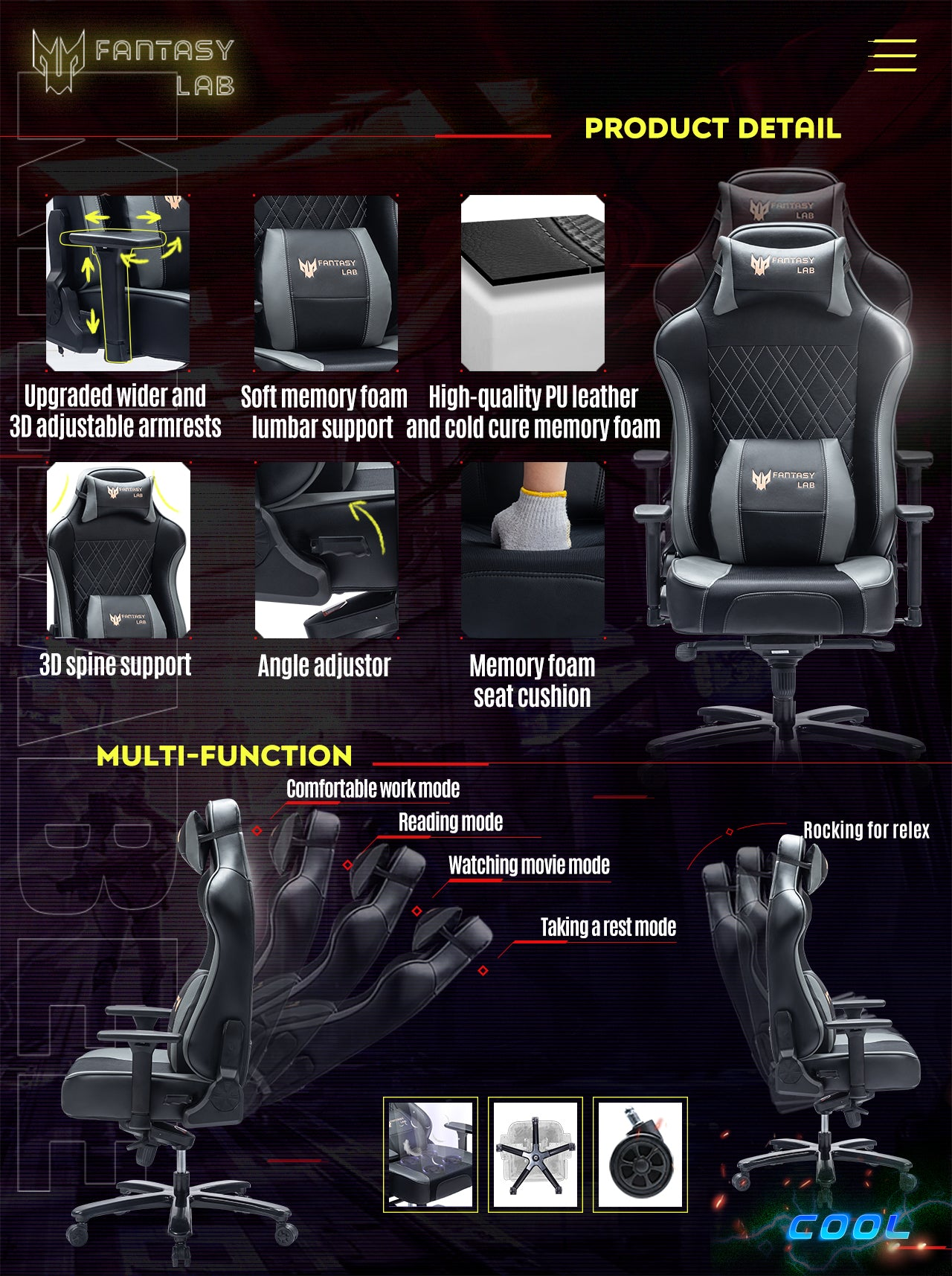 FANTASYLAB Cool Series Racing Style Big and Tall Gray Gaming Chair Features