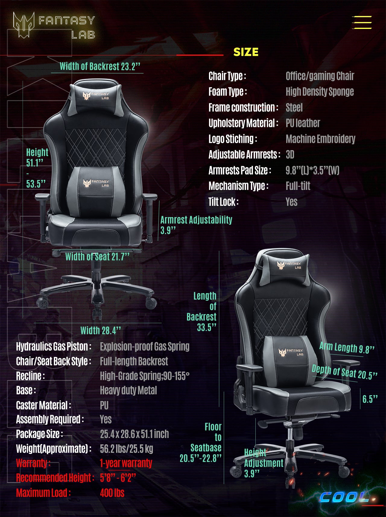 FANTASYLAB Cool Series Racing Style Big and Tall Gray Gaming Chair Specifications