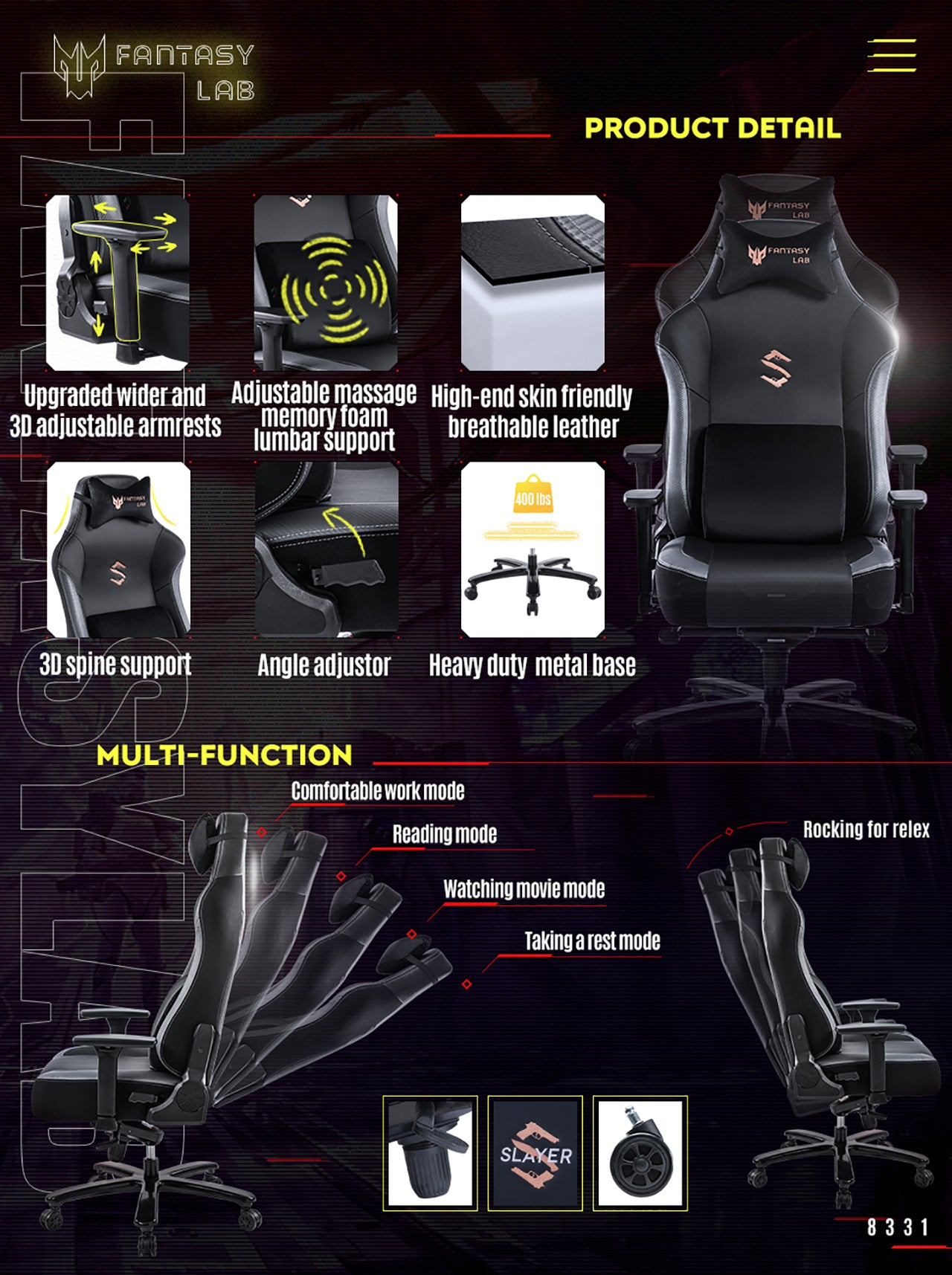 FANTASYLAB GRAY GAMING CHAIR WITH MASSAGE LUMBAR SUPPORT 8331 SERIES MULTIFUNCTIONAL COMPUTER GAMING CHAIR