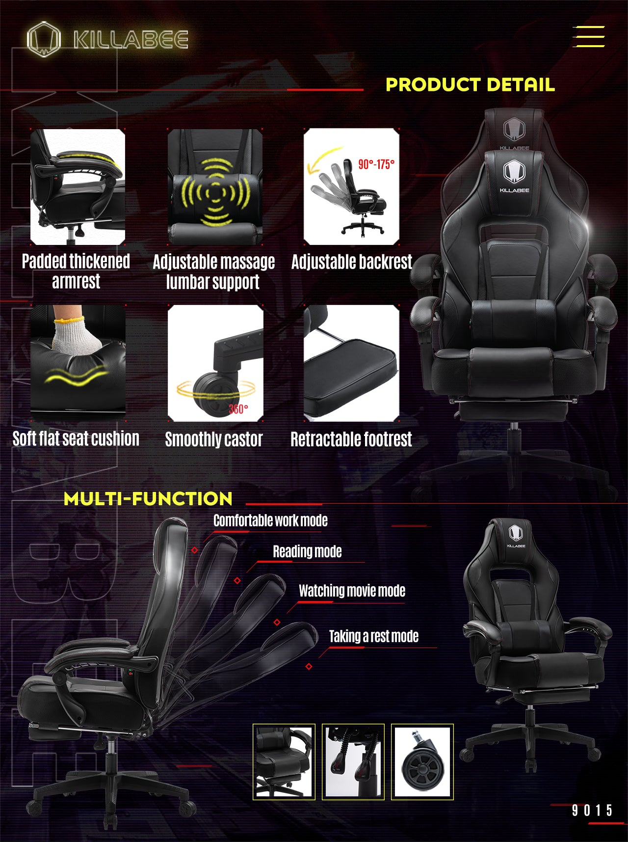 KILLABEE BEST RACING GAMING CHIAR 9015 SERIES BLACK HOME OFFICE CHAIR FEATURES