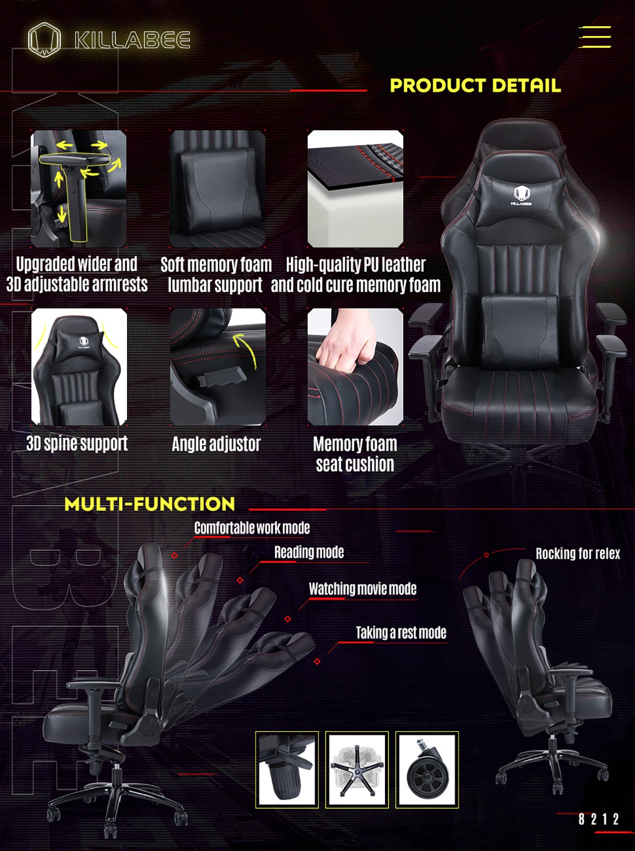 KILLABEE BIG AND TALL GAMING CHAIR 8212 BLACK FEATURES