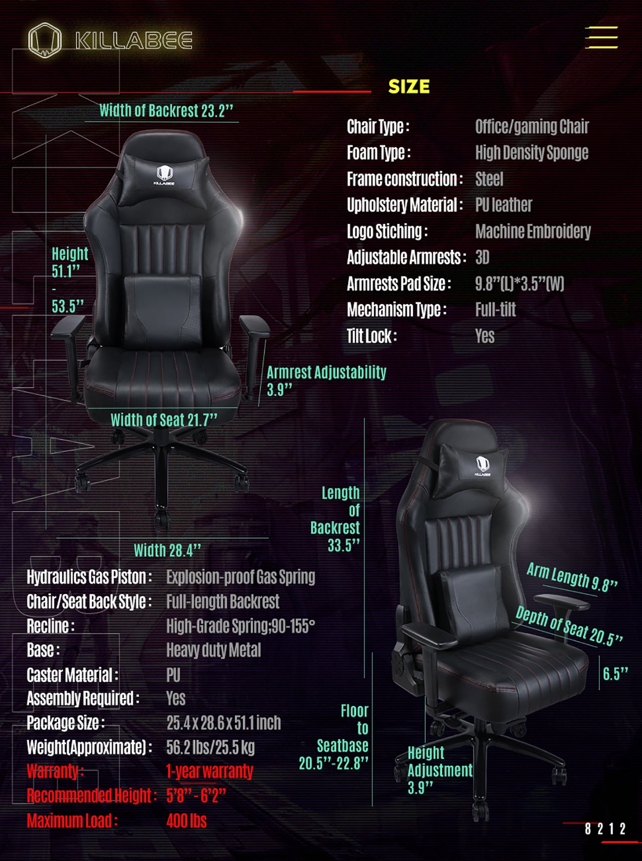 KILLABEE BIG AND TALL GAMING CHAIR 8212 BLACK SPECIFICATION